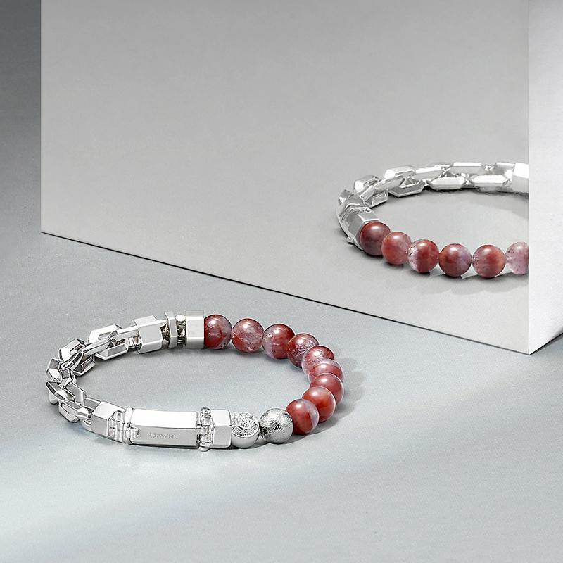 Men's Beaded Bracelet with Auralite 23, Meteorite and 925 Silver Chain