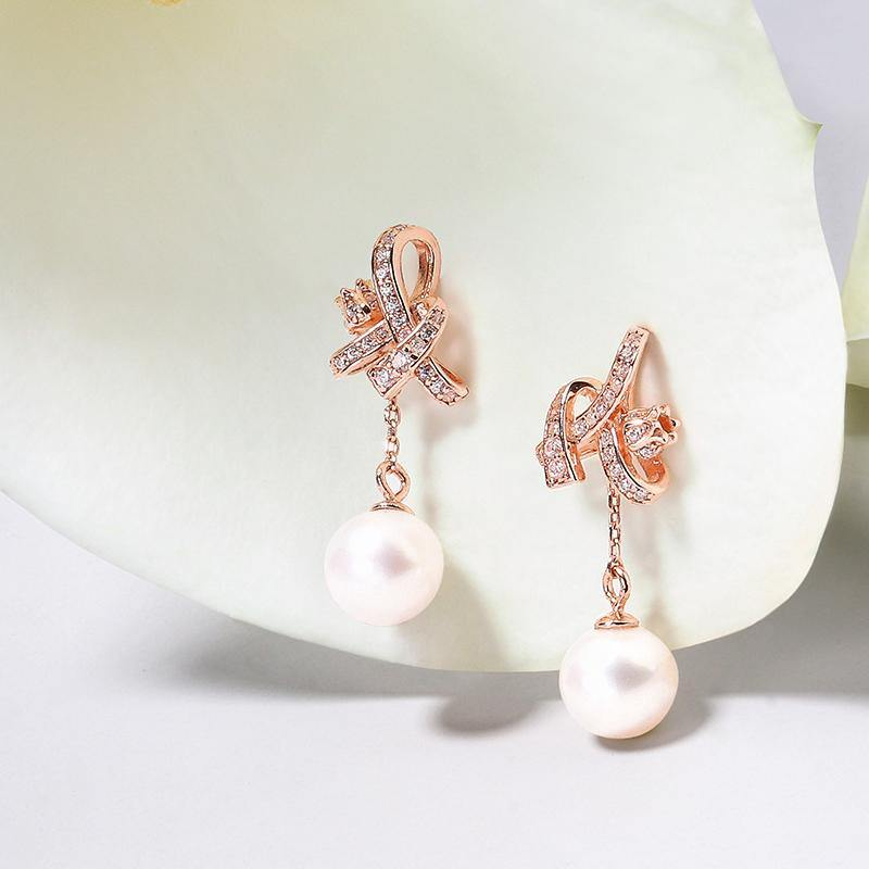 Women's Rose Gold Plated Earrings with Lily of the Valley