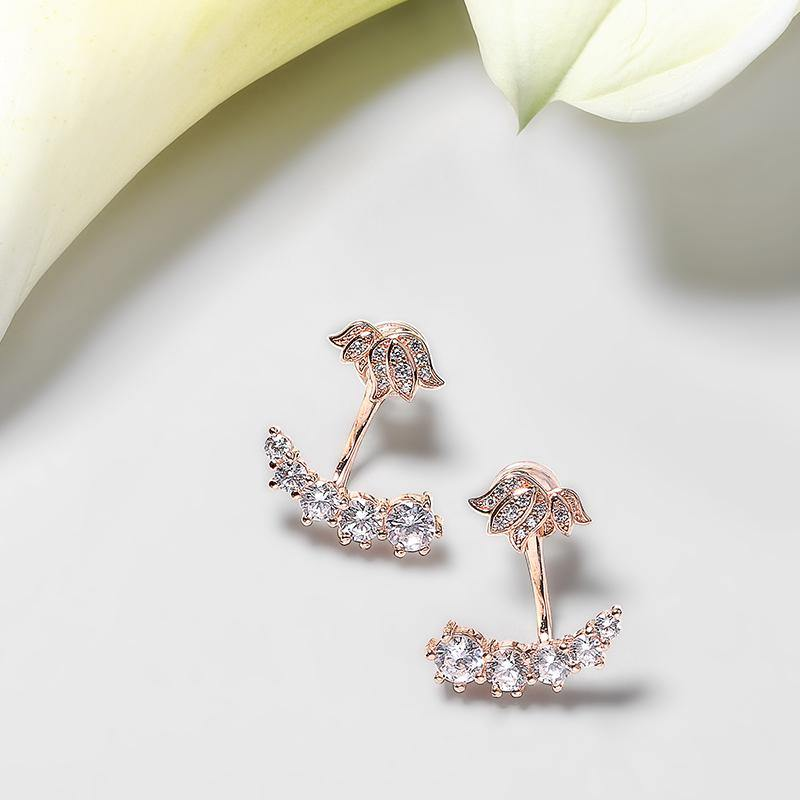 Women's Rose Gold Plated Earrings with Lily of the Valley, CZ Diamonds - II