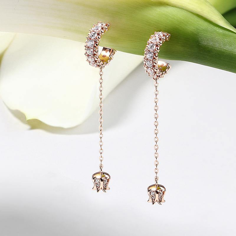 Women's Rose Gold Plated Earrings with Lily of the Valley, CZ Diamonds - IV