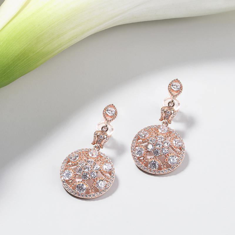 Women's Rose Gold Plated Earrings with Lily of the Valley, CZ Diamonds - I