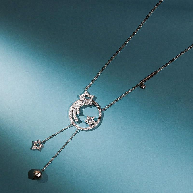 Women's Silver Necklace with Stars, Moon and CZ Diamonds