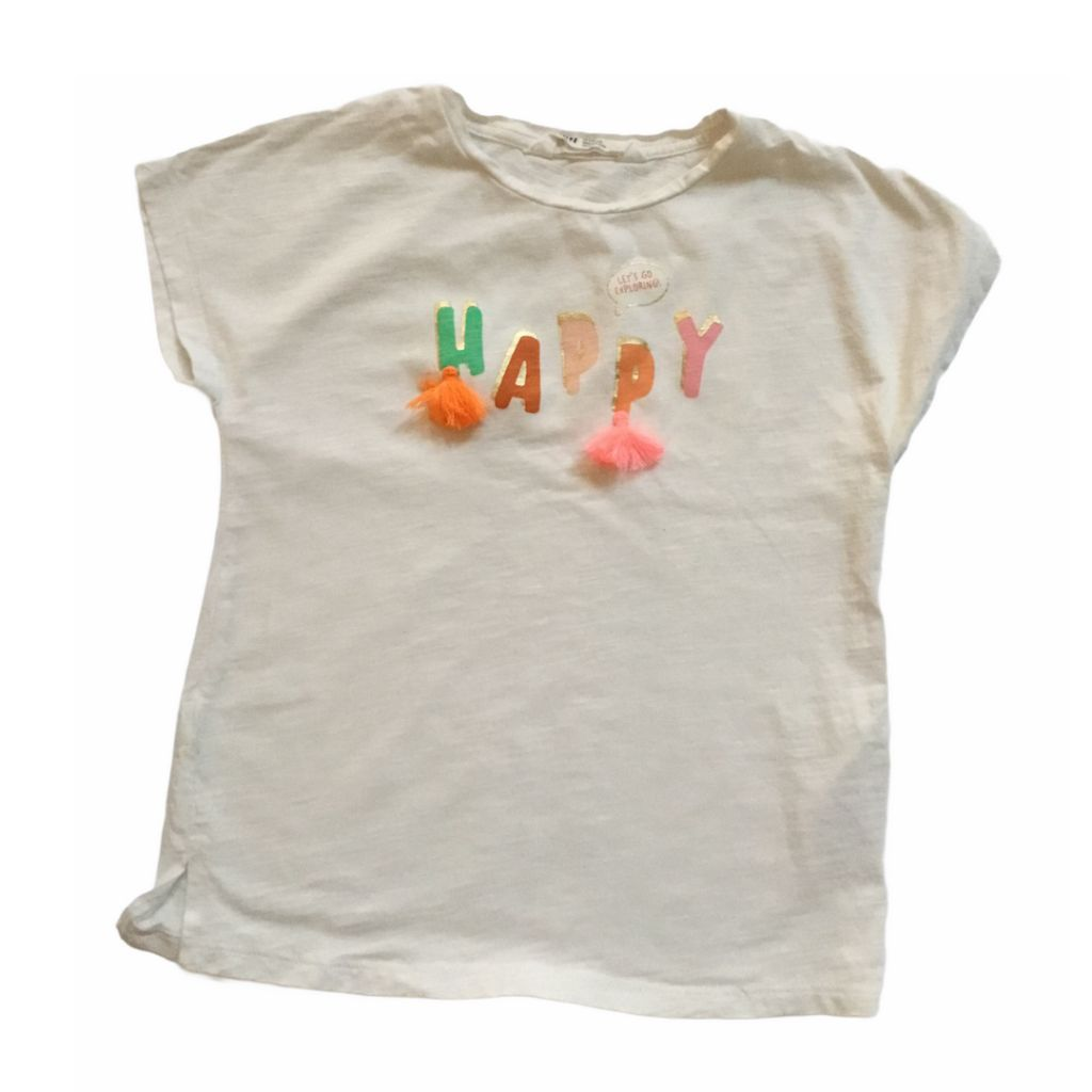 White H&M T-Shirt, 4-6 Years