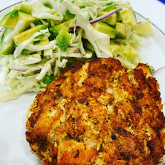 Salmon Cake with Avocado Salad