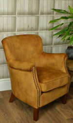 Load image into Gallery viewer, Vintage Gold Velvet Armchair