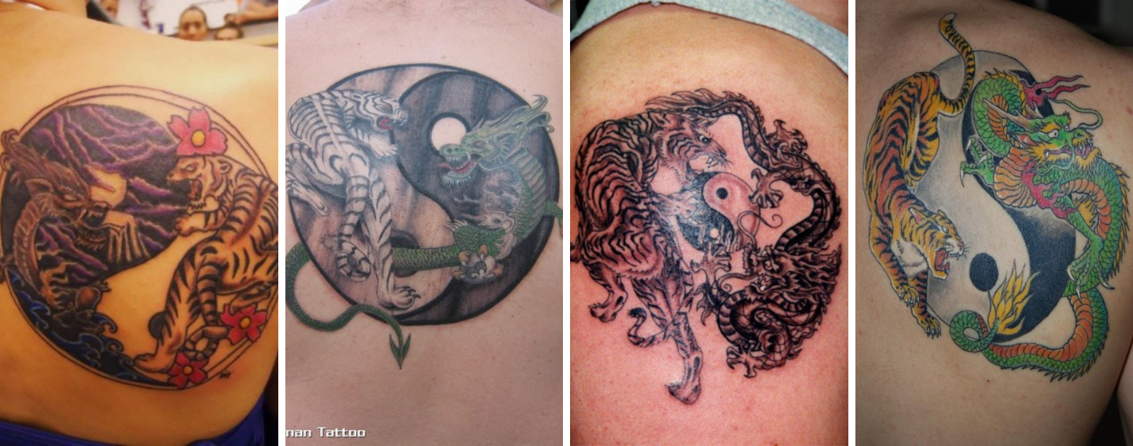 dragon and tiger with yin yang tattoo