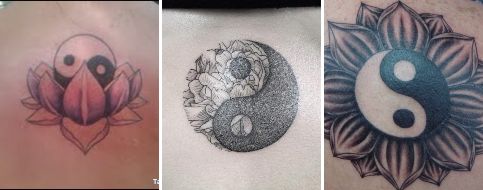 yin yang flower tattoo design