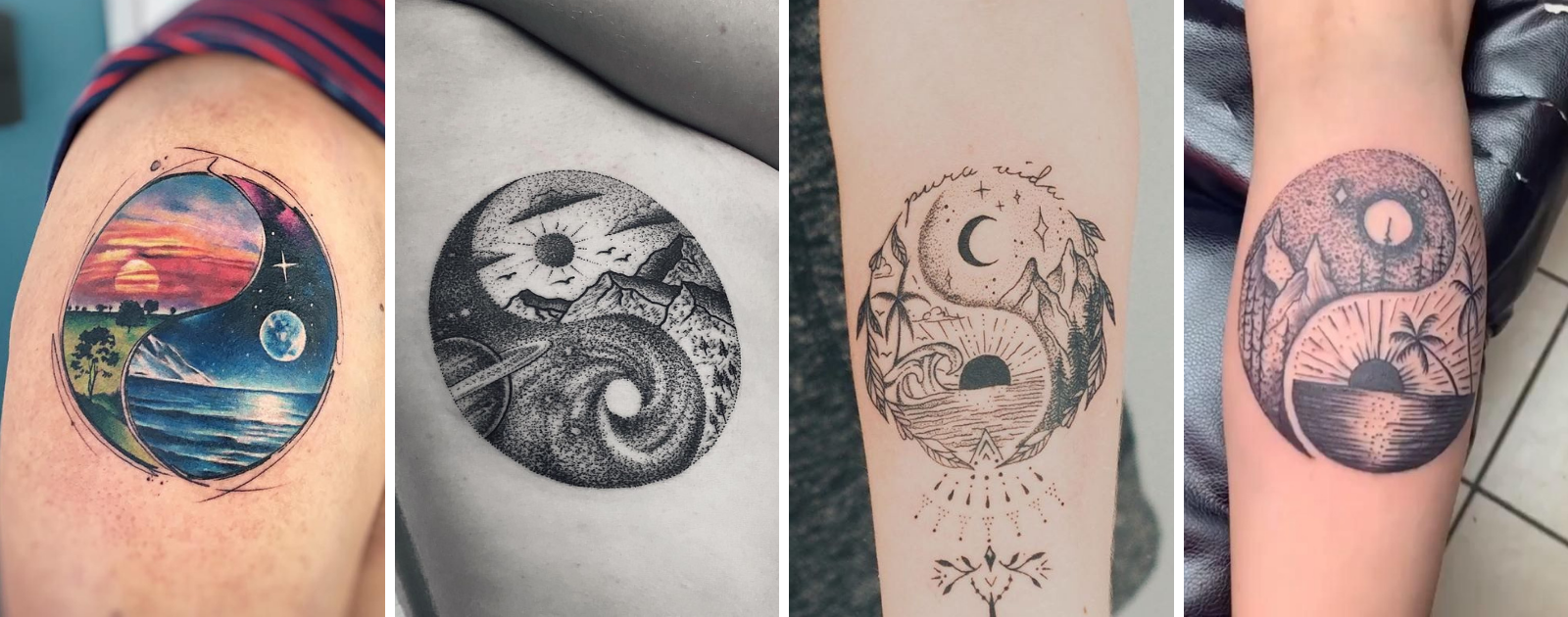 moon and sun tattoos yin yang