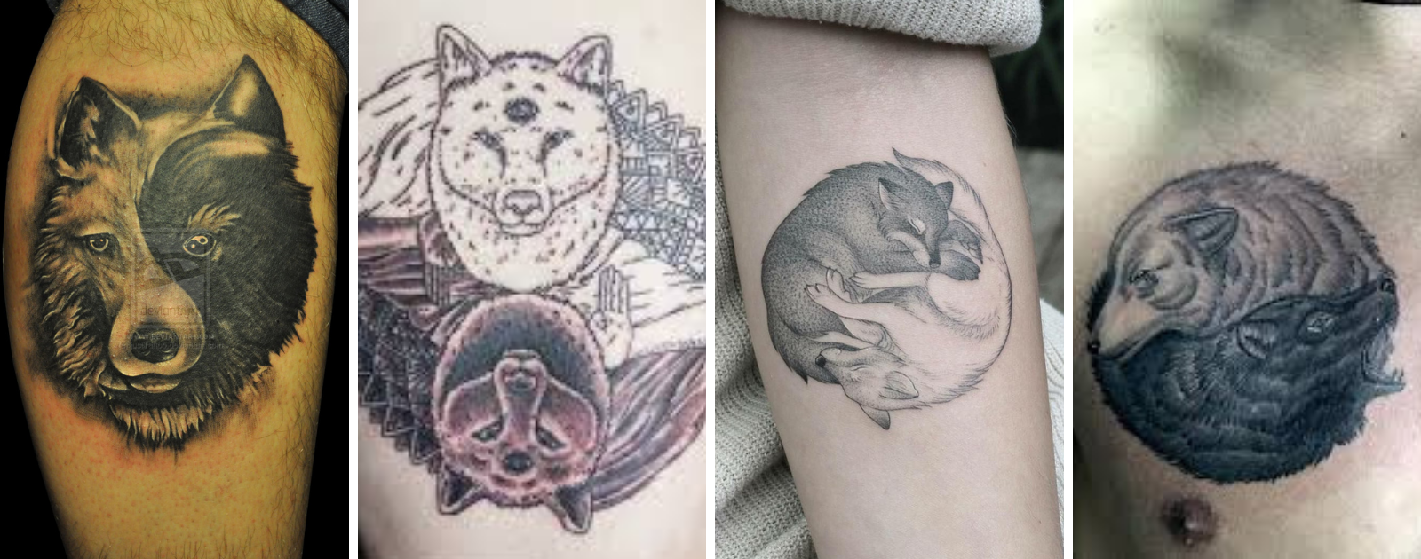 two wolves yin yang tattoo