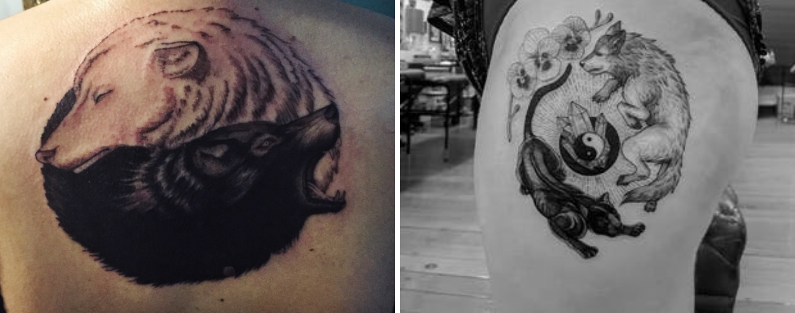 wolves yin yang tattoo