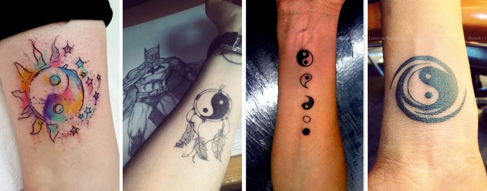 small yin yang tattoo on wrist