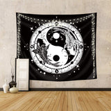 yin yang koi tapestry black and white