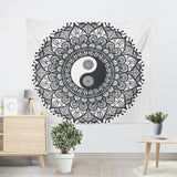 black and white yin yang decor tapestry