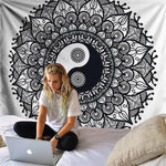 black and white yin and yang tapestry