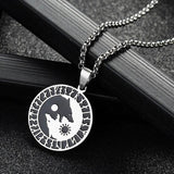 sun moon yin yang necklace with wolves