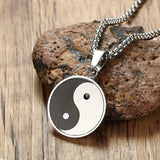 yin and yang necklace black and white