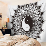 Yin Yang Tapestry Black and White mandala decoration