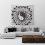 Yin Yang Tapestry Black and White