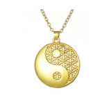 yin yang symbol necklace gold