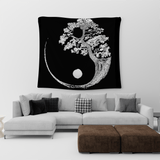 yin yang tree of life tapestry black