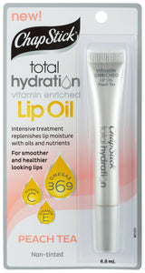 ChapStick 6.8Ml Total Hydration Vitamin Enriched Lip Oil Peach Tea