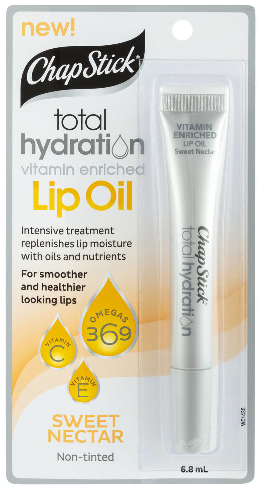 ChapStick 6.8Ml Total Hydration Vitamin Enriched Lip Oil Sweet Nectar