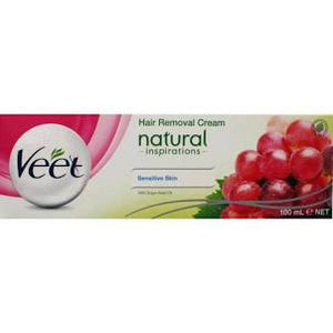 Veet 100Ml Hair Removal Cream For Sensitive Skin With Grape Seed Oil