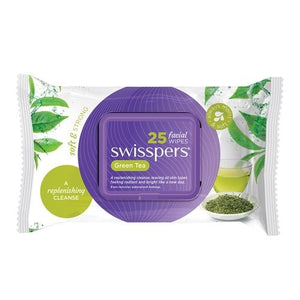Swisspers 25 Facial Cleansing Wipes Green Tea