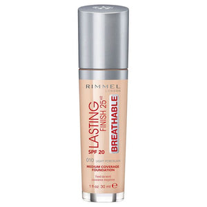 Rimmel London 30Ml Lasting Finish 25Hr Foundation 010 Light Porcelain SPF20