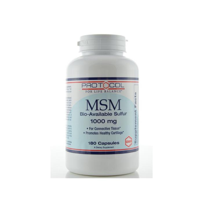 MSM 1000 mg 180 capsules by Protocol For Life Balance