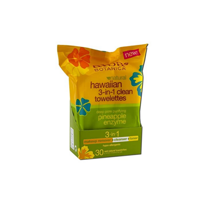 Hawaiian 3-in-1 Clean Towelettes 30ct by Alba Botanica