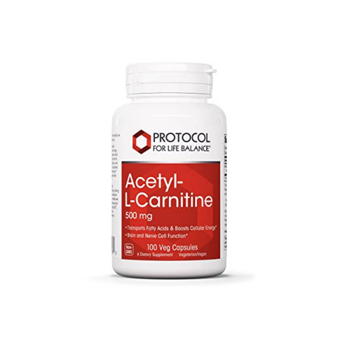 Acetyl-L-Carnitine 500 mg 100 capsules by Protocol For Life Balance