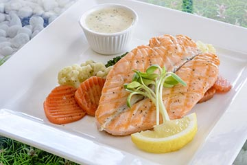 Salmon steak white wine sauce