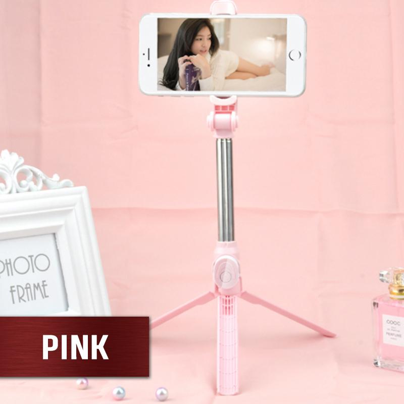 4 in 1 Mobile Phone Selfie Stick Gadgets DazzyCandy Pink