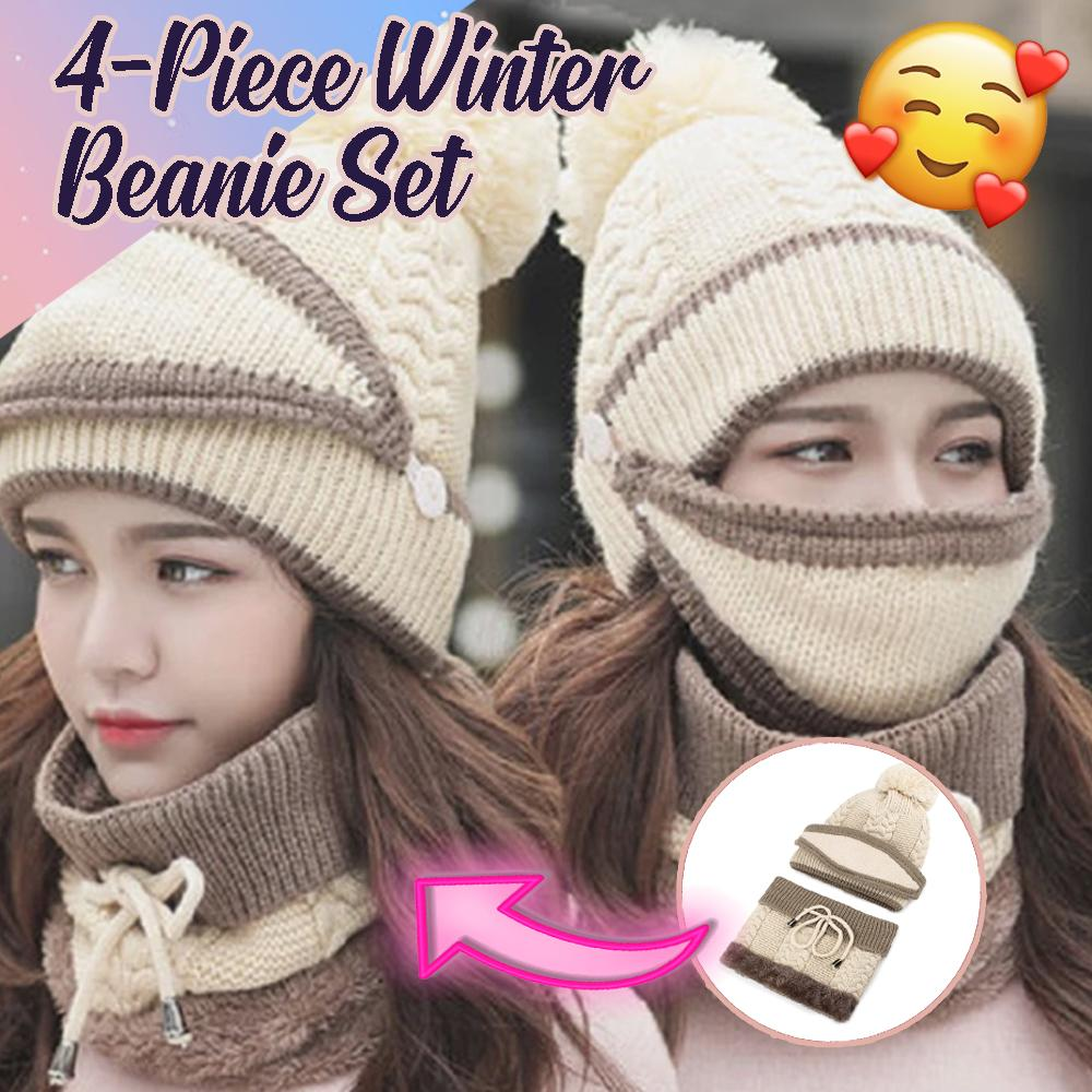 4-Piece Winter Beanie Set Woman DazzlingBreeze