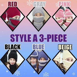 4-Piece Winter Beanie Set Woman DazzlingBreeze Style A 3-Piece Black