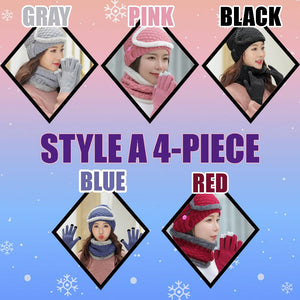 4-Piece Winter Beanie Set Woman DazzlingBreeze Style A 4-Piece Black