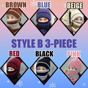 4-Piece Winter Beanie Set Woman DazzlingBreeze Style B 3-Piece Black