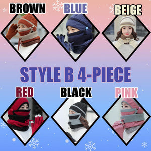 4-Piece Winter Beanie Set Woman DazzlingBreeze Style B 4-Piece Black