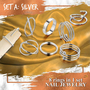 Adjustable Cuticle Cuff Ring Set Accessories Huggy Bazaar Set A Sliver