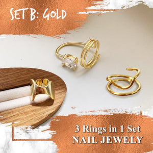 Adjustable Cuticle Cuff Ring Set Accessories Huggy Bazaar Set B Gold