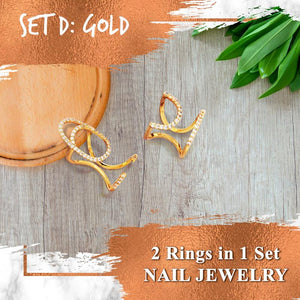 Adjustable Cuticle Cuff Ring Set Accessories Huggy Bazaar Set D Gold