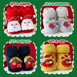 Christmas Baby Socks Kids DazzlingBreeze Set A - Santa + House S (0-1 Year Old)