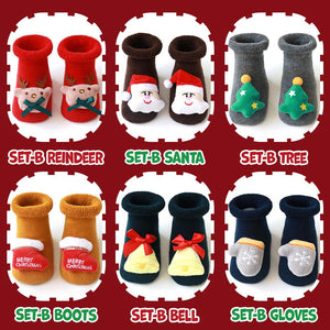 Christmas Baby Socks Kids DazzlingBreeze Set B - Reindeer + Boots S (0-1 Year Old)