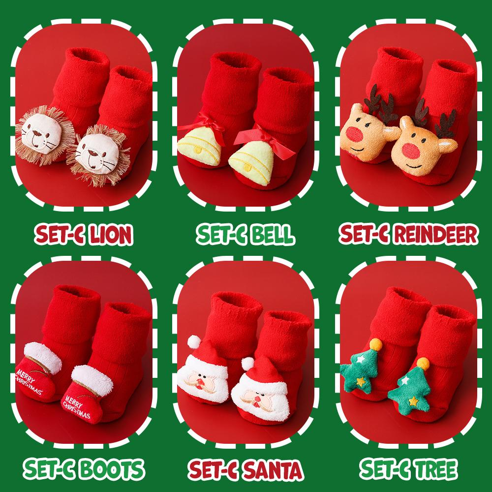 Christmas Baby Socks Kids DazzlingBreeze Set C - Lion + Boots S (0-1 Year Old)