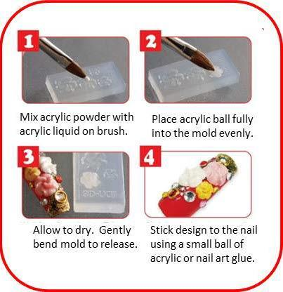 DIY 3D Nail Acrylic Mold Nails ladybethel