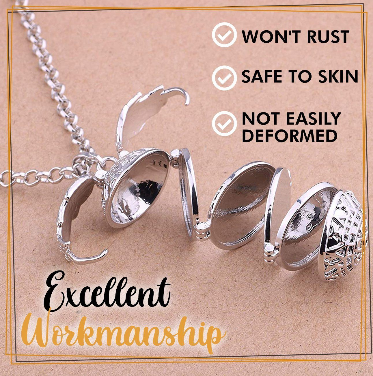 Expandable 4 Photo Locket Necklace Jewelry trillionwish