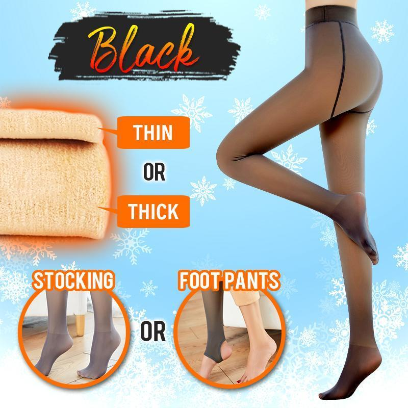 Flawless™ Winter Fake Translucent Fleece Pantyhose Intimate Wear DazzyCandy Black Thin Stockings