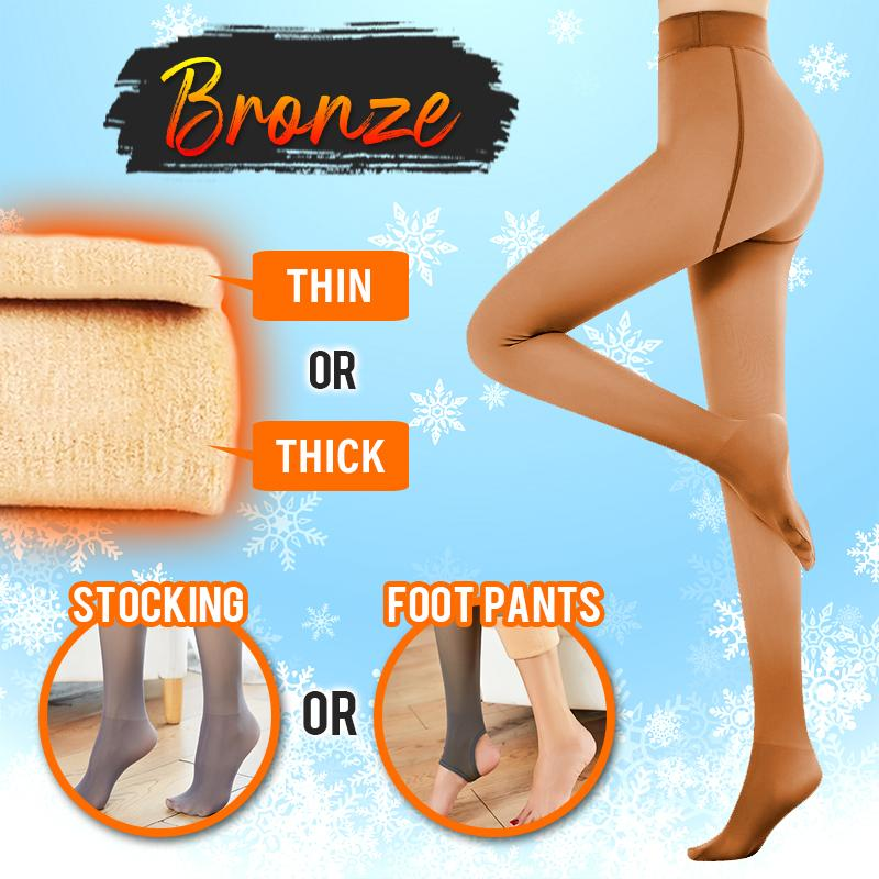 Flawless™ Winter Fake Translucent Fleece Pantyhose Intimate Wear DazzyCandy Bronze Thin Foot Pants