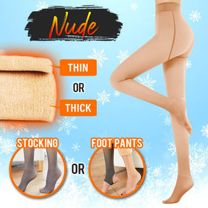 Flawless™ Winter Fake Translucent Fleece Pantyhose Intimate Wear DazzyCandy Nude Thin Foot Pants